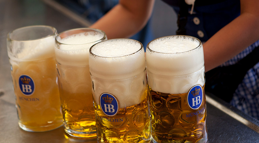 Delicious oktoberfestbier being served