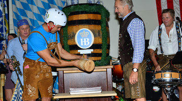 No one knows how to tap a keg of beer better than the local Las Vegas celebrities during Oktoberfest